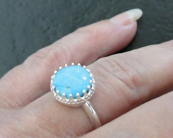 Turquoise Ring, Sterling Silver And Genuine Turquoise Cabochon Crown Bezel Ring