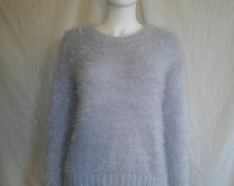 90's fuzzy furry sparkle sweater shirt / Rave / Club Kid