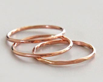 Rose Gold Stacking Ring, Rose Gold Ring in Shiny, Faceted or Hammered, Rose Gold Band, Thumb Ring, Stacking Ring Set, Knuckle Ring, Audrey