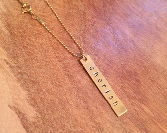 Personalized Vertical Bar Necklace - Gold