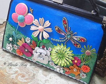 The Dragonfly Handbag Hand Painted Up-Cycled Purse Vintage Jewelry  One-of-a-Kind Mixed Media Art Purse