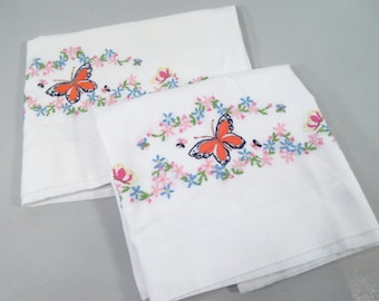 Vintage pillowcases, hand embroidered butterflies, monarch butterfly, cotton, standard size, vintage embroidery, spring bedding
