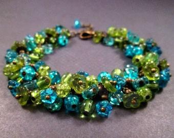 Flower Charm Bracelet, Enchanted Garden, Blue Green and Brass, Cha Cha Style Bracelet, FREE Shipping U.S.