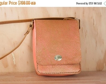 CLEARANCE SALE Small Leather Cross body Bag - Shoulder bag with Tooled Western Floral Pattern in pink and gold - Womens Handbag