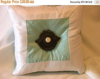 NOW on SALE Soft Dusk Blue and Ivory Silk Ring Pillow