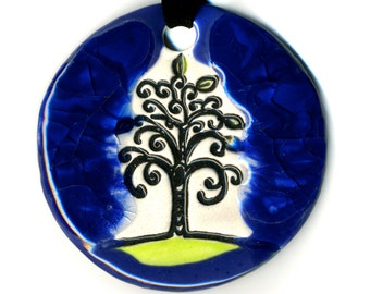 Tree Ceramic Necklace with Blue Melted Glass Glaze
