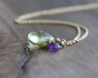 Lemon quartz & amethyst necklace - lemon quartz and amethyst briolettes on 14k gold filled chain - delicate gemstone jewelry