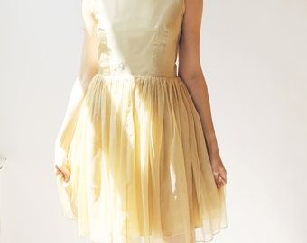 Sample SALE - short beige silk chiffon dress