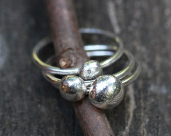Sterling siver pebble stacking rings