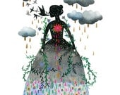 Petals and Rain: 11 x 14 inch Limited Edition Giclée Print