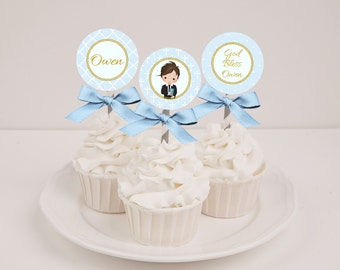 Printable Personalized Boys Blue First Communion Cupcake Toppers