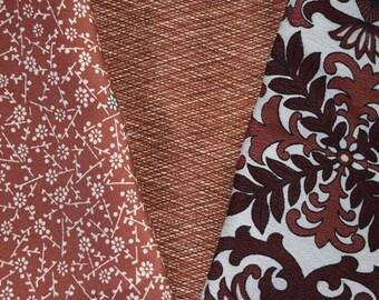 Vintage Japanese Kimono Fabric Bundle 3 Sleeve Mix Crafting - Mocha Madness
