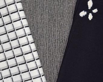 Vintage Japanese Kimono Fabric Bundle 3 Sleeve Mix Crafting - Geo Neutrals