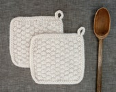 Handmade Felted Wool Pot Holder for the Modern Kitchen Textured in Soft White Textured Seed Stitch Potholder