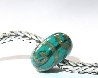 Luccicare Lampwork Bead - Green&Gold Ornament -  Lined with Sterling Silver