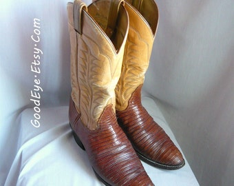 Vintage TONY LAMA Western Boots / Men Size 9 .5 d Eu 43 Uk 9 / LIZARD n Leather Flame Stitched / Womens Cowboy boot sz 10 .5 W