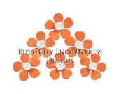 Bridal Hair Accessories Wedding Rhinestone Hair Pins Bridesmaid Headpiece Floral Hair Piece - 12 Orange Remi Mini Plum Blossom Flowers