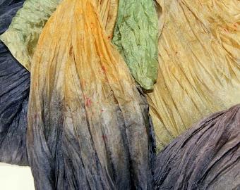 Bark in  Hand Dyed Habotai Silk  for Nuno Felting