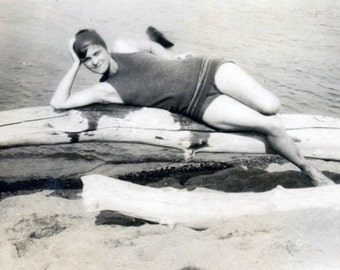 vintage photo 1919 Long Legs Bathing Beauty Pose on Fallen Tree by Lake