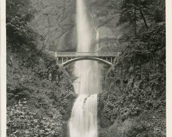vintage photo 1923 Multnomah Falls Oregon Men Pose by Waterfalls Cross & Dimmit Studio