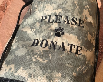 PLEASE DONATE Fundraising Dog Vest with large clear pockets for donations, Size Large - Digital Camo, Animal Rescue, Veteran, Military