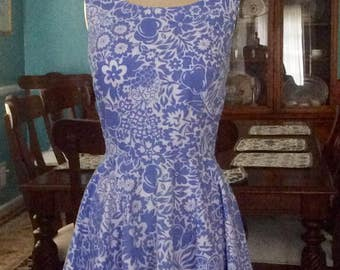 1960's retro style dress in blue floral print made to order