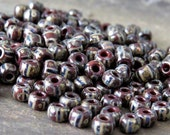 6/0 Brown Striped Czech Glass Picasso Seed Bead : 25 grams Brown Striped Seed Bead