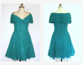Embrald Green 80s Prom Dress/ Off The Shoulder/  Cocktail  Party Dress Sz M
