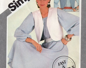 Simplicity 5459 Misses Pullover Dress And Reversible Vest Uncut Pattern Size 12-14-16 Copyright 1982