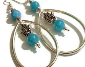 Aquamarine hamsa bead teardrop hoop dangle earrings
