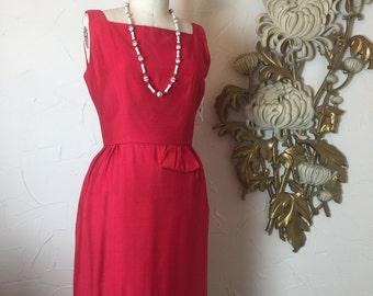 1950s dress red dress wiggle dress 50s dress hourglass dress size medium Vintage dress mad men dress