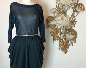 Fall sale 1980s dress vintage dress lurex dress striped dress cocktail dress size medium black dress pop out hips 27 waist