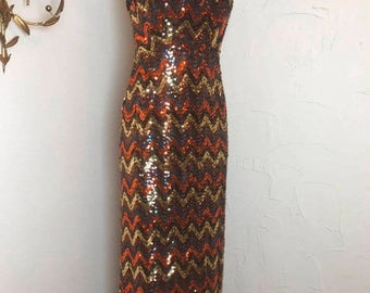 Fall sale 1970s dress sequin dress lilli diamond size small vintage dress chevron dress strapless dress maxi dress formal gown 25 waist
