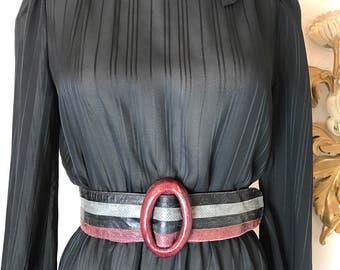1980s belt striped belt snakeskin belt size medium burgundy and gray leather belt wide belt