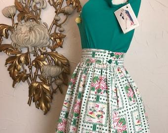 1950s skirt novelty print skirt size small 27 waist cotton skirt dutch skirt green and white full skirt