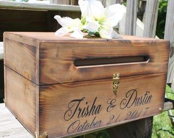 Wood Wedding Card Box - Rustic Wedding Card Box - Wedding Decor - Advice Box Wishing Well - Card Box with lid that Locks - Wedding Card Box