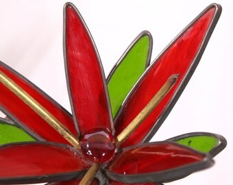 Red, Brass  and Green 3-D medium stained glass garden flowers