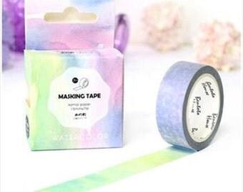 Watercolor Washi Tape, Colorful Washi Tape Rainbow Colors Washi Tape, Craft Tape Scrapbooking Tape, Art Tape, Beautiful Washi Tape