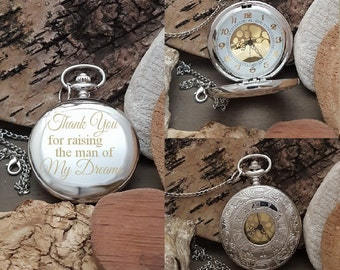 PW Father of the Groom Engraved Pocket Watch Gift Pocket Watch Gift Thank You For Raising The Man Of My Dreams Personalized Watch