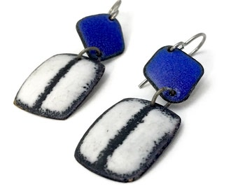 Indigo Royal Blue Matte Geometic Enamel Earrings black and white titanium earwires hypoallergenic