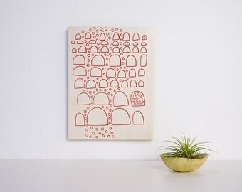 Art Tile Ceramic Wall Hanging trivet coaster Abstract line drawing in red Color by Tina Schowalter original artwork fun gift modern pottery