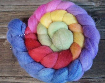 Polwarth Silk Combed Top, Spinning Fiber, Hand Dyed, Rainbow