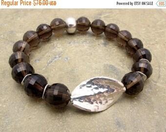 smoky quartz bracelet, smokey quartz, Hill Tribe silver, stretch bracelet, gemstone bracelet, boho bracelet,quartz bracelet, boho bracelet