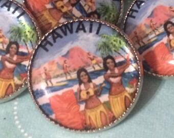 Fun Retro HAWAII Hula Girl Diamond Head Button - Cool