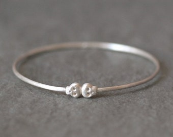 30% OFF WINTER SALE Baby Skull Bangle in Sterling Silver