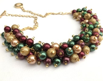 Tartan Wedding Theme Pearl Bridesmaid Necklace, Wedding Jewelry, Red Gold and Green, Winter Wedding, Cluster Necklace, Scottish Wedding