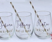 Will you be my bridesmaid wine glasses, Asking Bridesmaid, Bridesmaid Proposal Gift