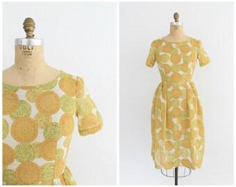 vintage 1960s citrus semi sheer medallion print dress | vtg 60s day dress | small