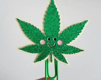 Happy Pot Leaf Paperclip/ Marijuana Leaf Bookmark/ Mary Jane/Happy 420