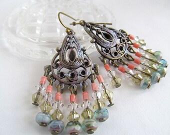 Brass Filigree Chandelier Earrings, Glass Bead Dangle Earrings, Sea Glass, Bohemian Earrings, Boho Jewelry
